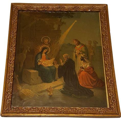 large antique lithograph  nativity scene circa