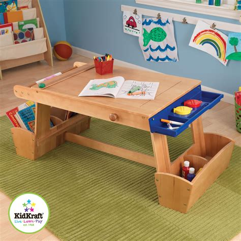 childrens art desk kidkraft art table with drying rack storage by oj