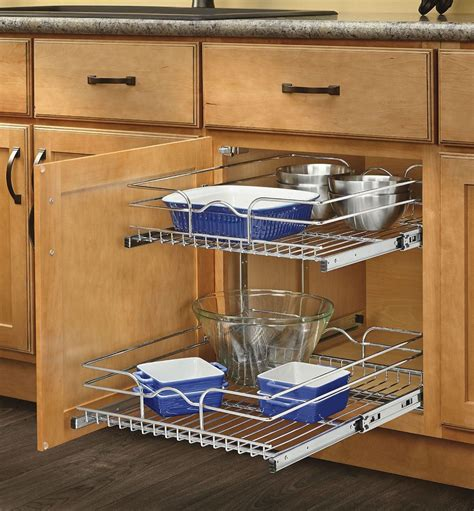 kitchen cabinet organizer pull out sliding metal pot