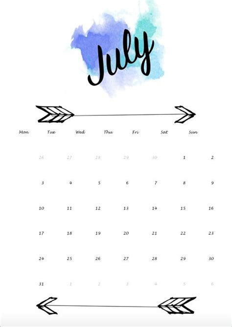 the color of water in july calendar blue july juli water color watercolor
