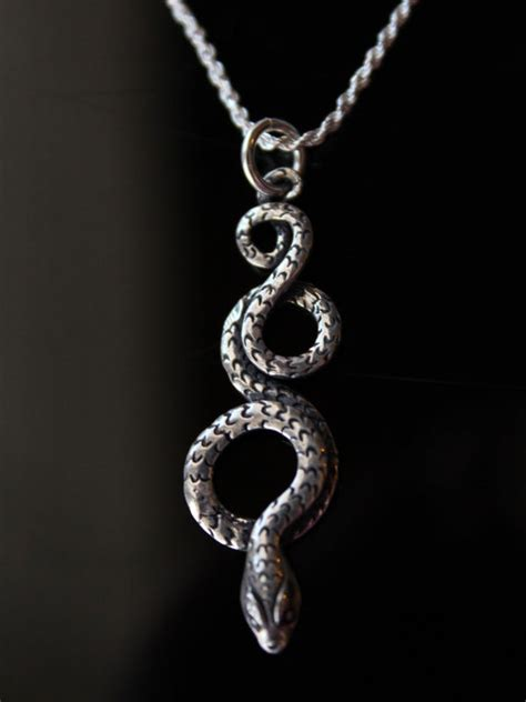 coiled snake sterling silver pendant necklace oxidized