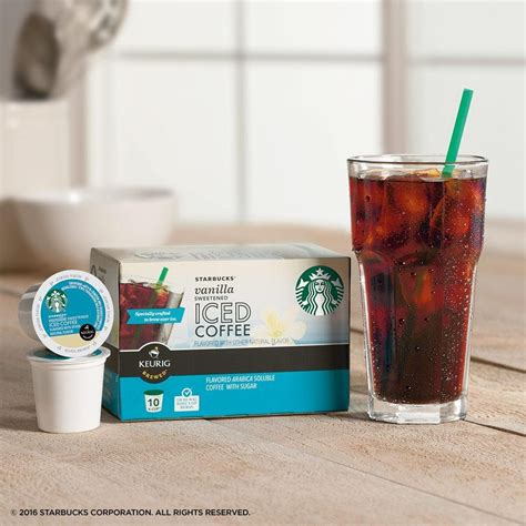 Starbucks Sweetened Iced Coffee Keurig Pods, Vanilla   (60 Single Serve K Cups), (Pack of 6