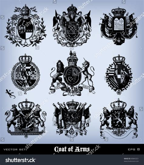 the complete illustrations engraving vintage coat of arms set from quot the complete