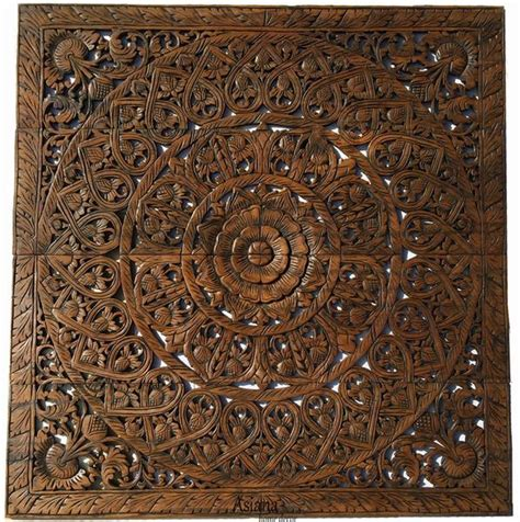 wood carved foral wall plaque unique asian home decor wall asiana home decor