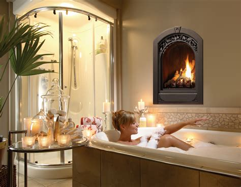 bathroom with fireplace marquis serenity gas fireplace