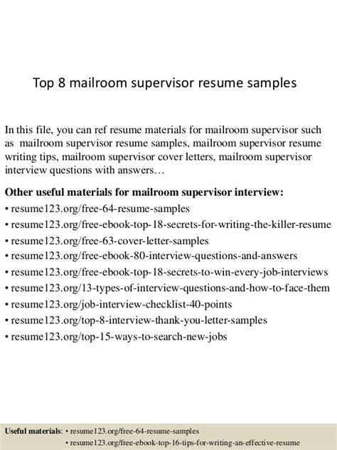 mailroom supervisor resume resume ideas