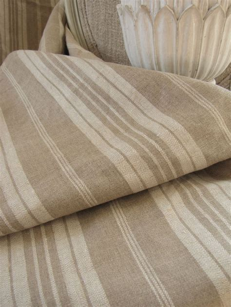 Antique French Linen Ticking Khaki Stripe Heavy Weight