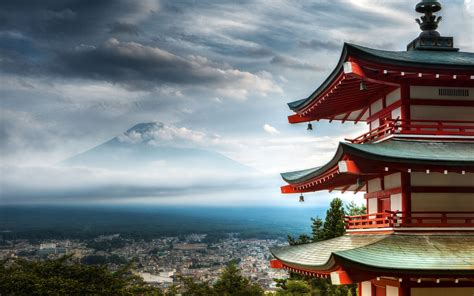 in japan pagoda in japan and view of mount fuji wallpapers and