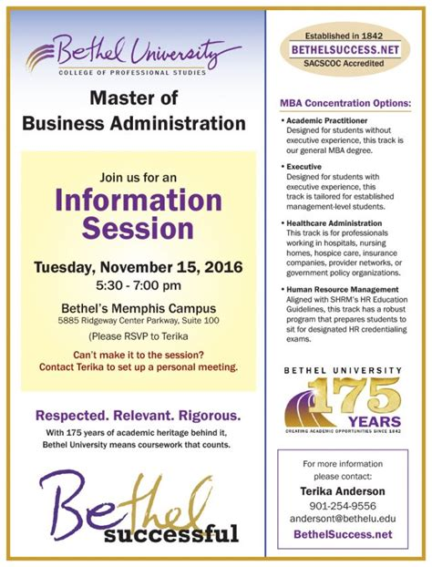 Utc Mba Tuition by Mba Information Session Bethel