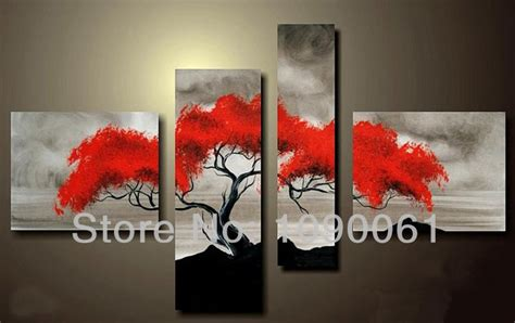 4 piece frameless colourful leaf trees canvas painting hand drawing 4 piece modern abstract tree artwork red