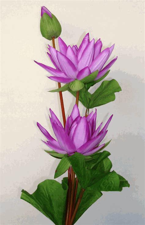 3 lotus purple artificial silk flowers stalk
