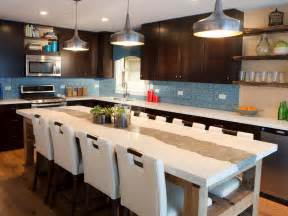 brown and blue contemporary kitchen with large kitchen island this contemporary kitchen s large