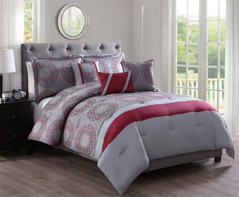 gray and red bedding 10 piece sean red gray jacquard bed in a bag set