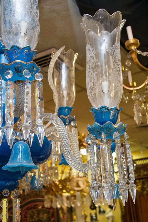 Blue Chandelier Shades And Large Blue Opaline Chandelier With Shades At 1stdibs