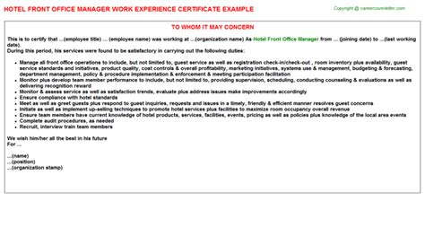 Front Desk Experience by Front Office Executive Work Experience Letters