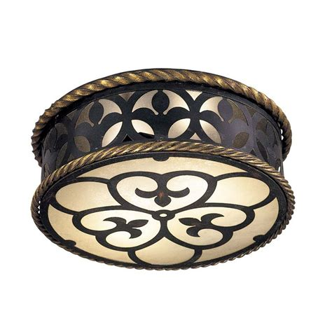 wrought iron ceiling flushmount light with scavo