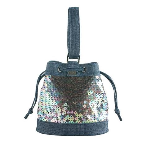Chanel Sequined Denim Handbag chanel denim sequin small drawstring satchel bag