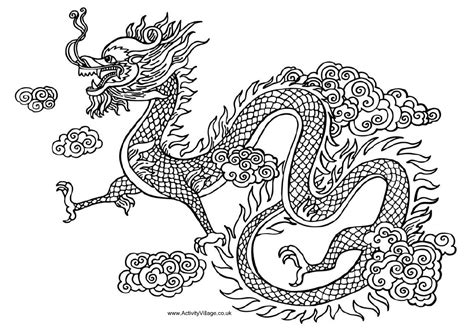coloring page chinese dragon great chinese dragon black and white reference image