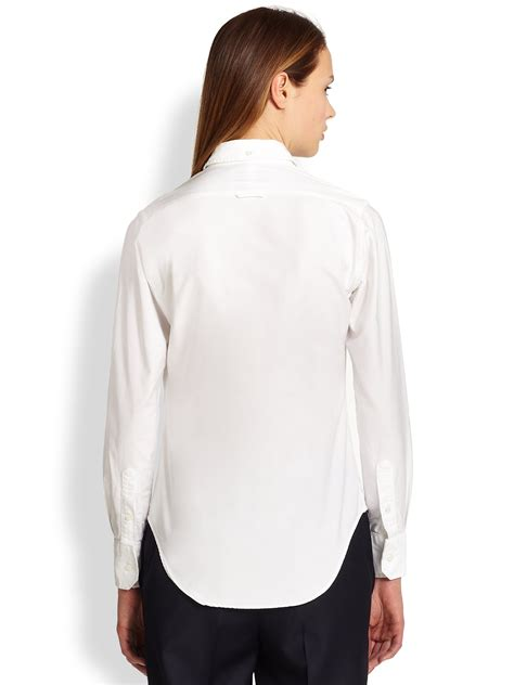 White Shirt Lyst by Lyst Thom Browne Classic Poplin Shirt In White