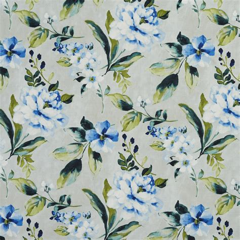 Large Print Upholstery Fabric by Aqua Green And Beige Large Floral Print Linen Upholstery Fabric