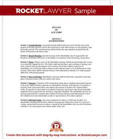 Bylaws Template For Corporation by Corporate Bylaws Template With Sle