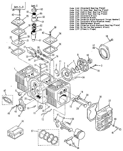onan engine parts diagram cylinder block diagram parts list for model 110342402