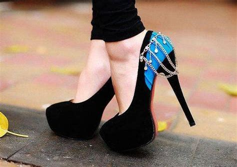 pretty blue high heels with chains shoes picture