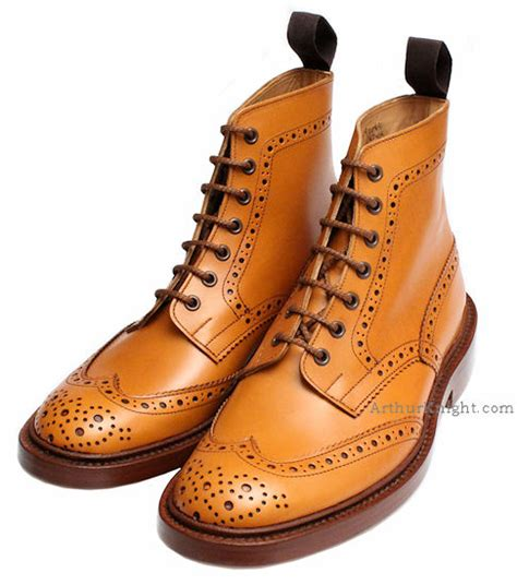 trickers stow acorn country brogue boots from arthur