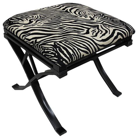 Zebra Print Vanity Stool by Chenille Zebra Print Padded Vanity Stool Black Finish