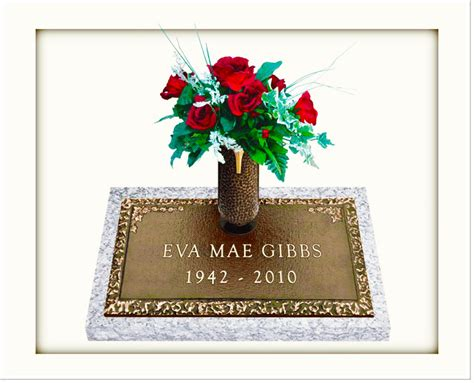 individual bronze grave markers with vases gravestones