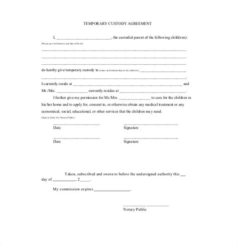 temporary custody letter template custody agreement template 10 free word pdf document