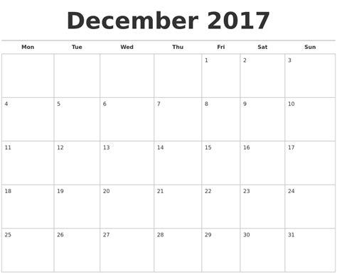printable planner calendar december 2017 december 2017 calendars free