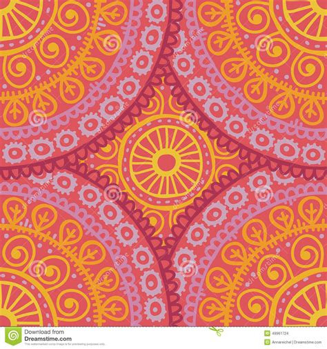 pattern pink orange hand drawn lace ethnic seamless pattern in pink and orange