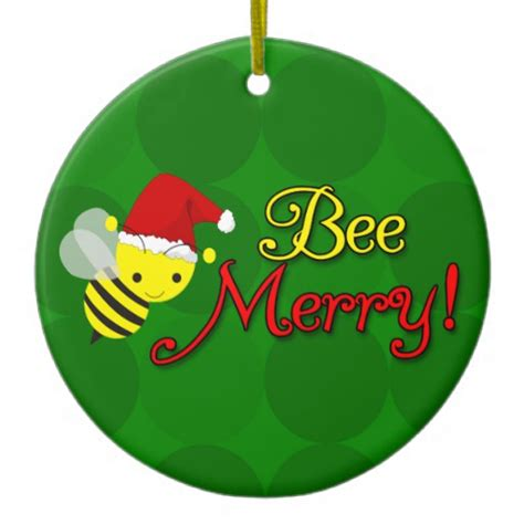 bee merry cute bumblebee holiday double sided ceramic