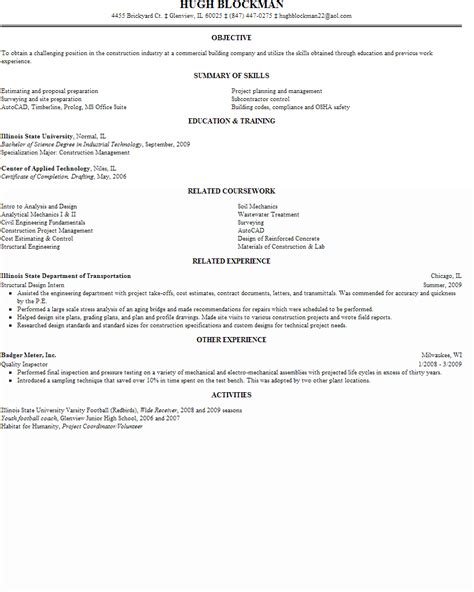 Cover Letter Entry Level Construction Management Construction And Extraction Resume Sles
