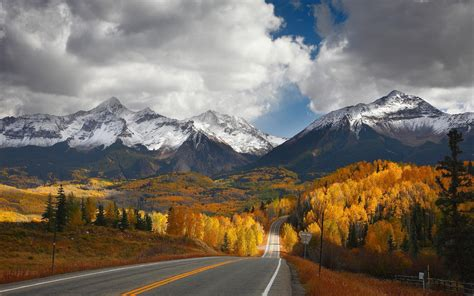 landscape nature mountain road forest fall snowy