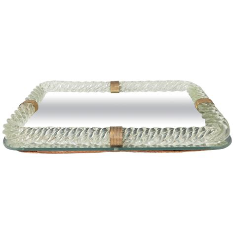 venini glass mirrored vanity tray with twisted frame at
