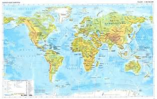 Physical Map Of The World by Topographic Map Of The World