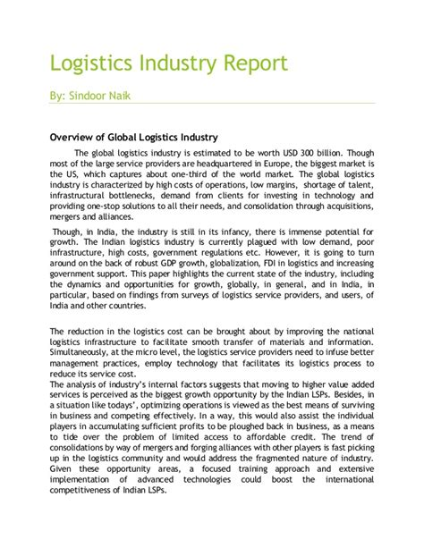 logistics industry report