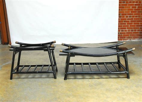 Black Wicker Coffee Table Black Lacquer Rattan Coffee Table And Side Table Attributed To Ficks Reed For Sale At 1stdibs