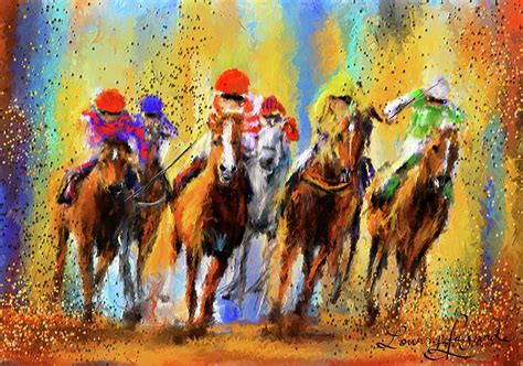colorful horses colorful racing impressionist paintings painting by