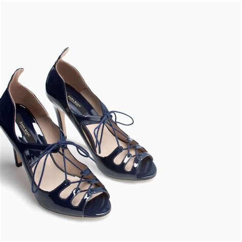 blue high sandals zara high heel lace up sandals in blue lyst