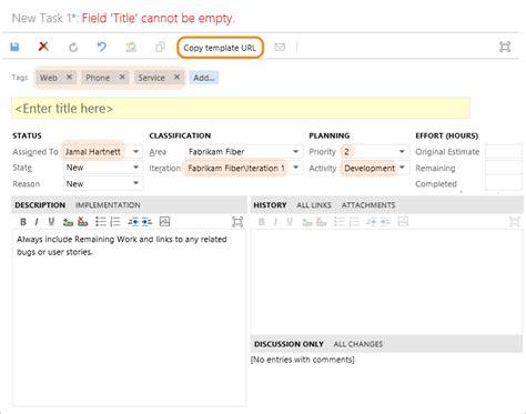 Work Item Templates Vsts Tfs Microsoft Docs Template Url