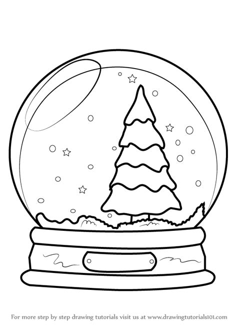 Step By Drawing Tutorial On How To Draw Snowglobe With Christmas  sketch template