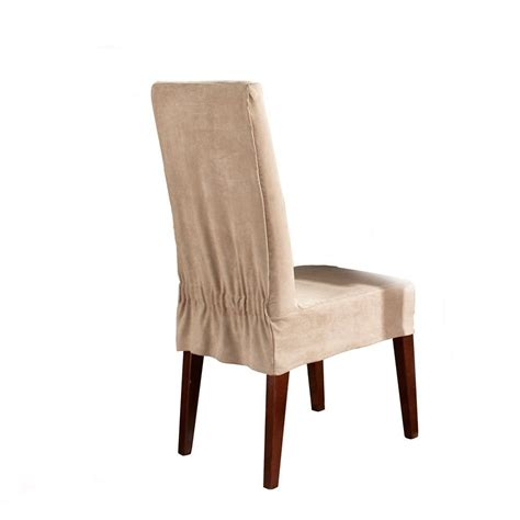 Dining Chair Cover Sure Fit Soft Suede Shorty Dining Room Chair Slipcover Taupe