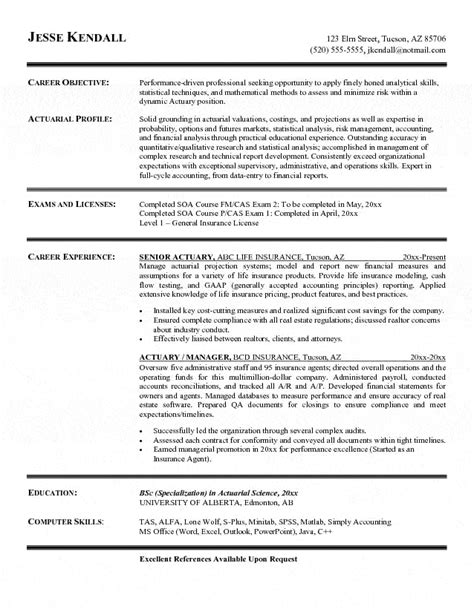 actuary resume template actuary resume