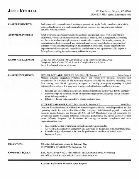 sample actuarial resume actuary resume great resume sample for you - Actuary Resume