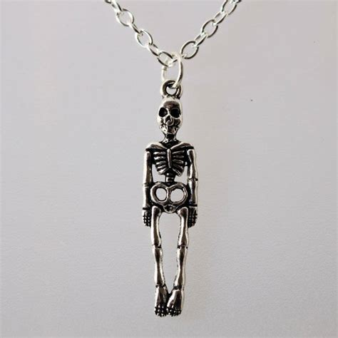 Handmade Silver Necklaces Uk - skeleton handmade silver chain necklace ljh jewellery