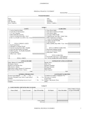 Personal Financial Statements Fill Online Printable Fillable Blank Pdffiller Fillable Personal Financial Statement Template