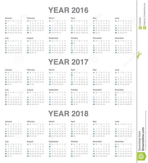 Calendar 2016 To 2018 Calendar 2016 2017 2018 Stock Vector Image 61090368